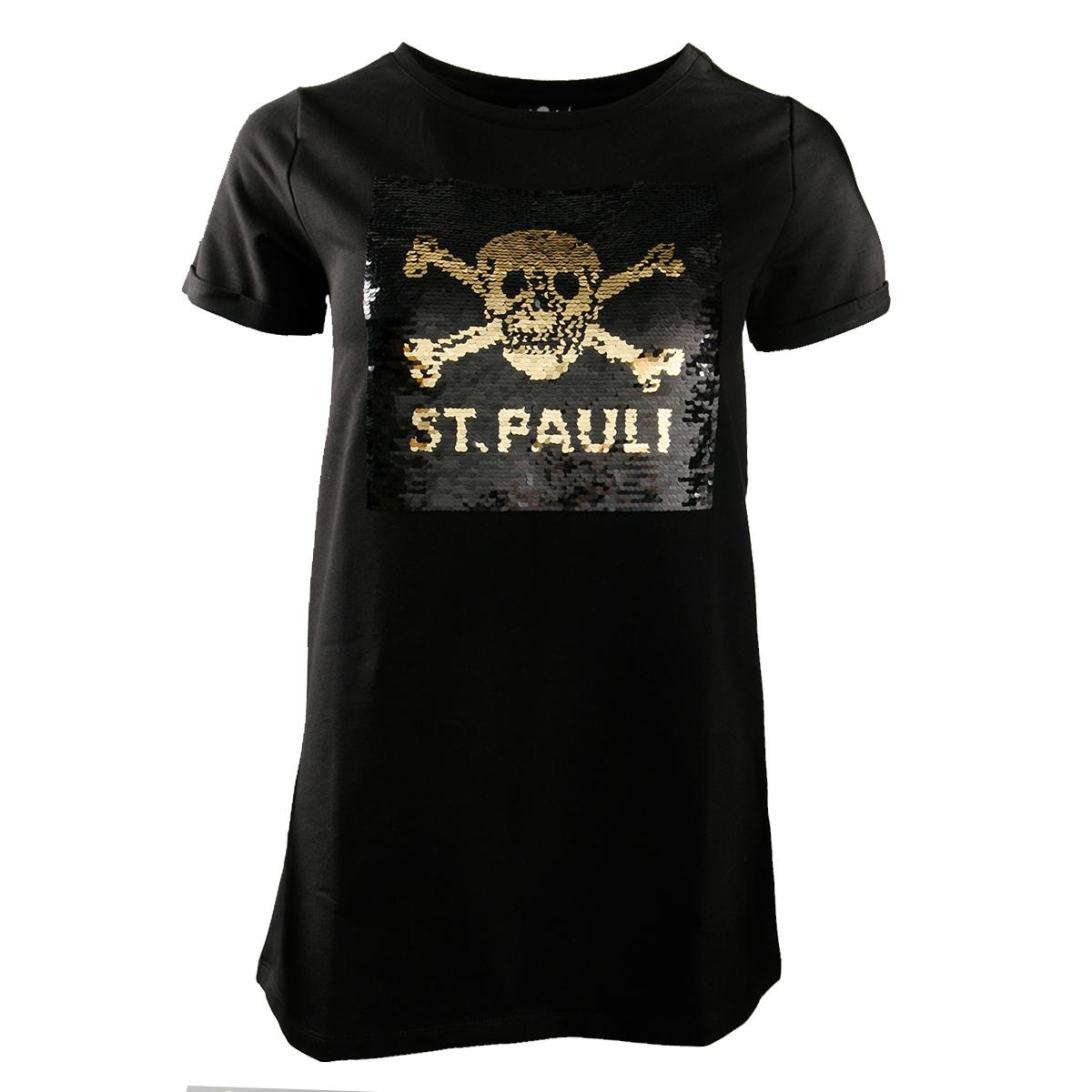 FC St. Pauli - Damen T-Shirt Black Matte Totenkopf - schwarz
