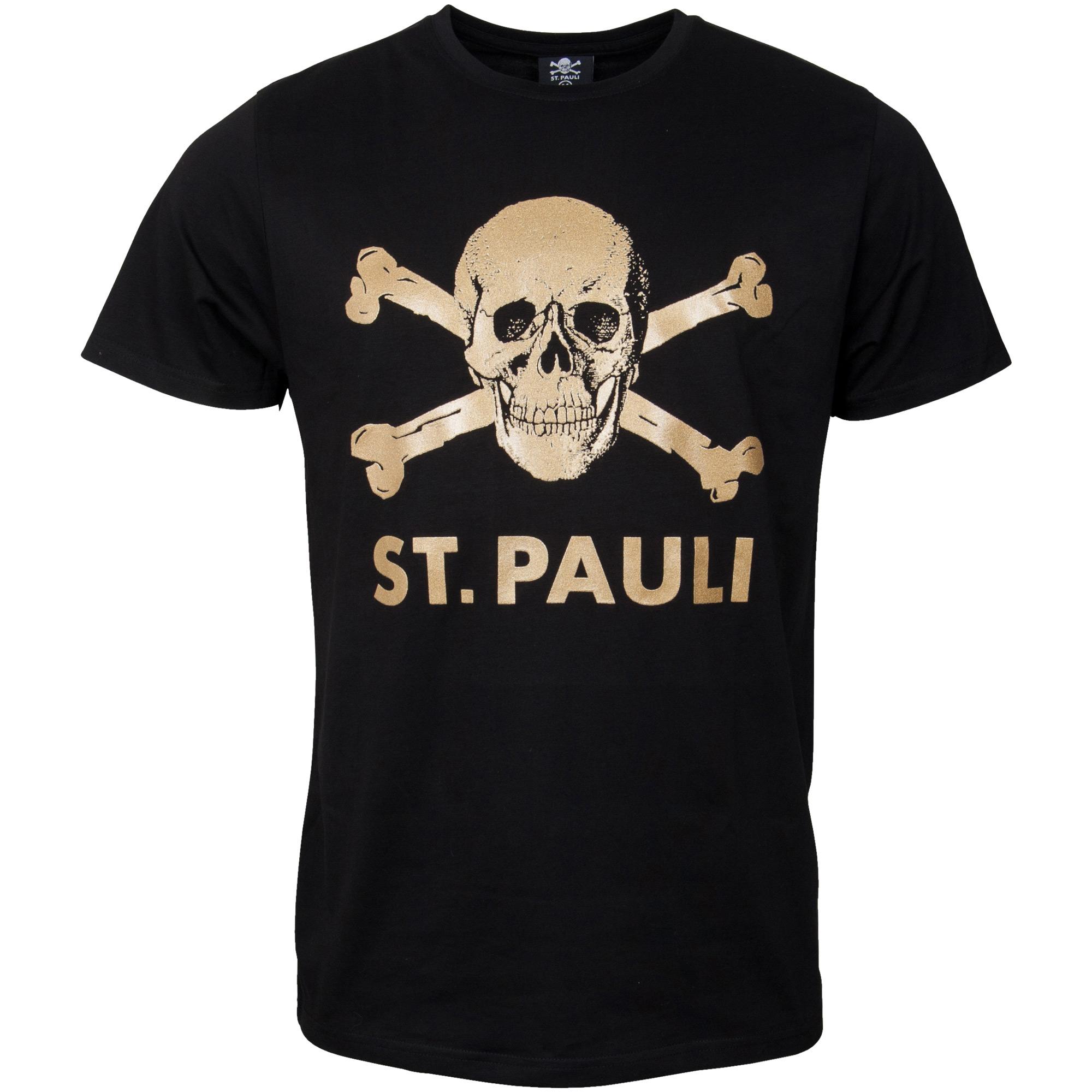 FC St. Pauli - T-Shirt Totenkopf Schwarz-Gold