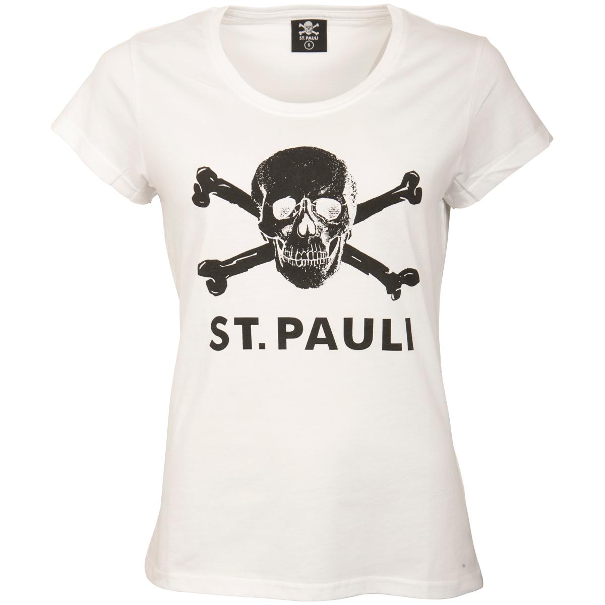 FC St. Pauli - Damen T-Shirt Totenkopf - weiß