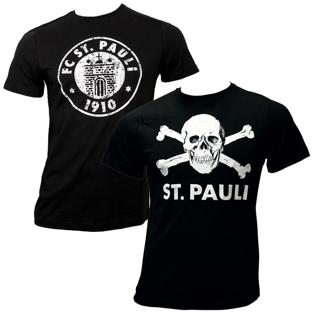 FC St. Pauli - T-Shirt Set Totenkopf & Logo - schwarz