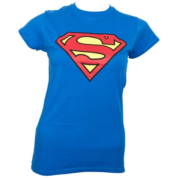 Superman - Girlie T-Shirt Logo - blau