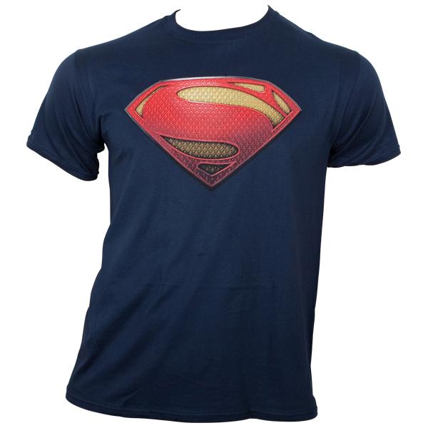 Superman - T-Shirt Man Of Steel Textured Logo - blau