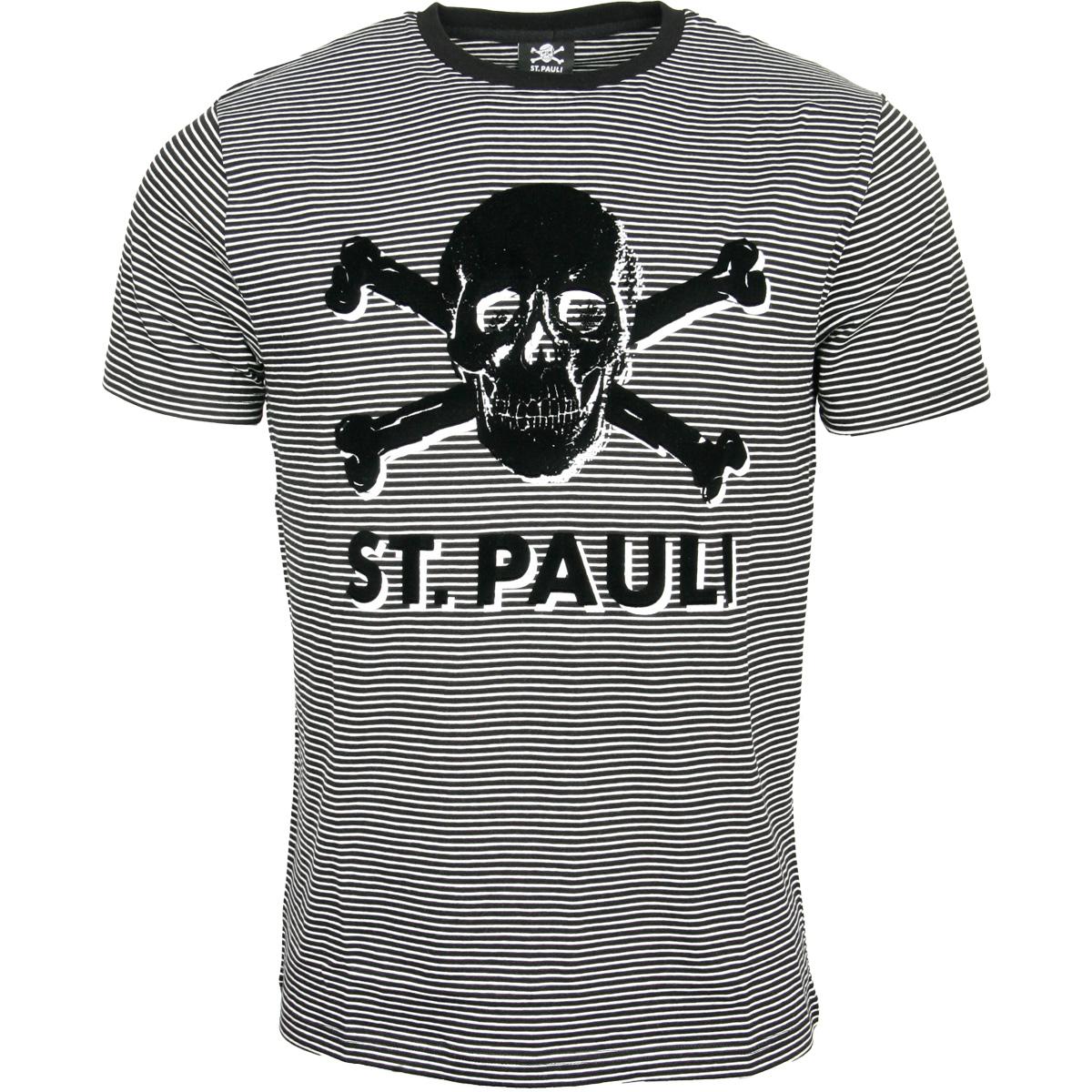 FC St. Pauli - T-Shirt Stripe Terry Totenkopf - schwarz-weiß