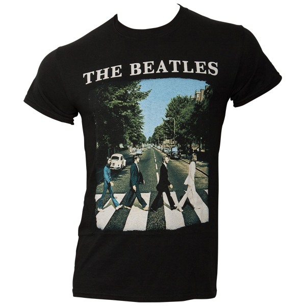 The Beatles - T-Shirt Abbey Road & Logo - schwarz