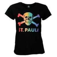 FC St. Pauli - Damen T-Shirt Regenbogen CSD - schwarz