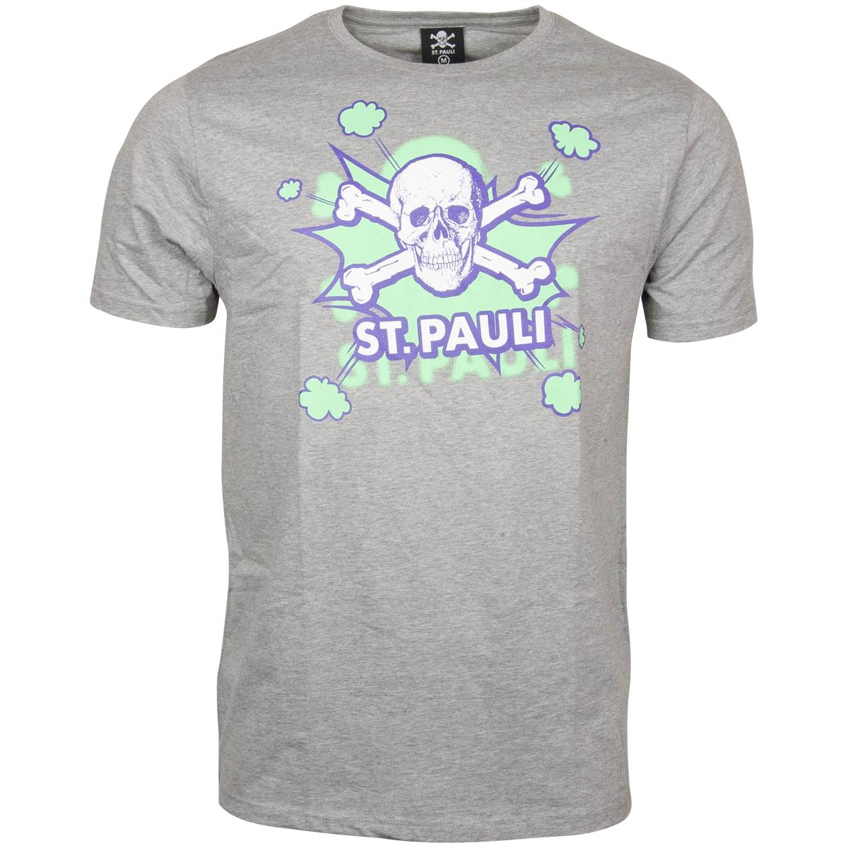 FC St. Pauli - T-Shirt Totenkopf Pow Grau-Grün - grau