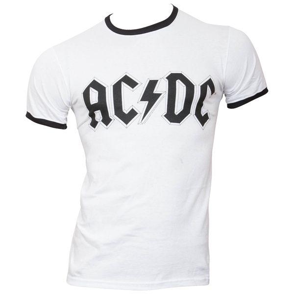 AC/DC - T-Shirt Logo (Ringer) - weiß