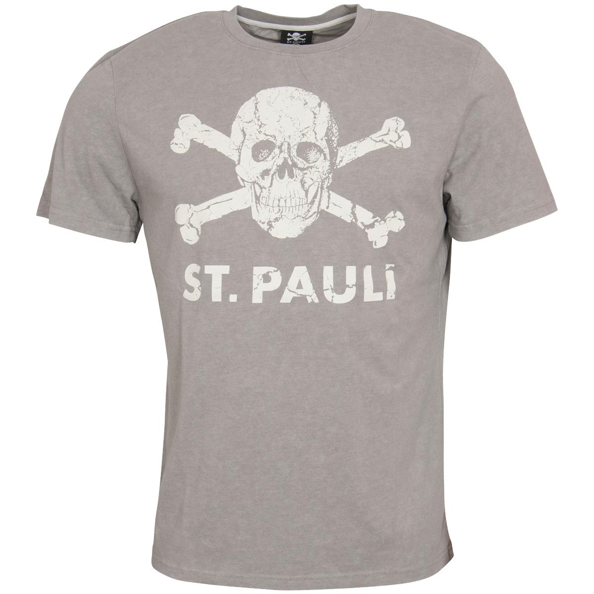 FC St. Pauli - T-Shirt Totenkopf Brushed Grey - grau
