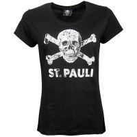 FC St. Pauli - Damen T-Shirt Totenkopf Stadtplan Schwarz-Weiss - schwarz