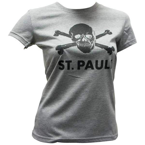 FC St. Pauli Frauen T-Shirt Totenkopf - grau