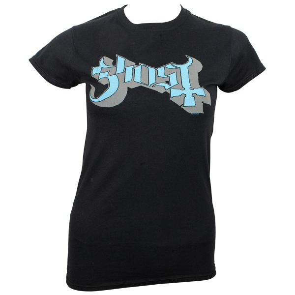 Ghost - Girly T-Shirt Blue/Grey Keyline Logo - schwarz