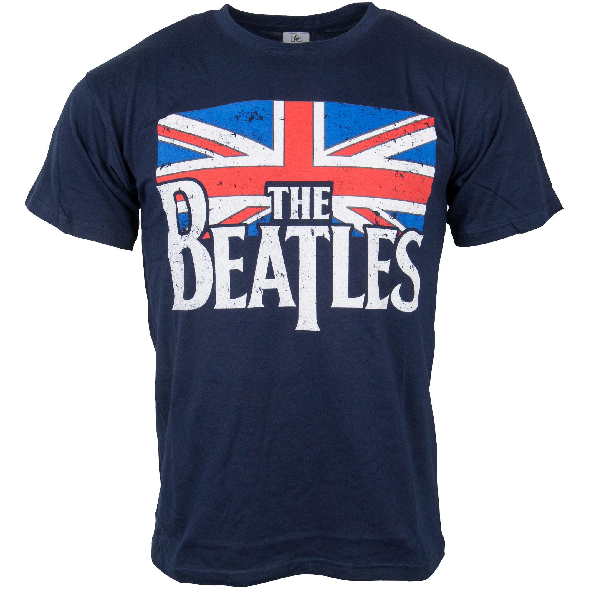 The Beatles - T-Shirt Drop T Logo & Vintage Flag - blau