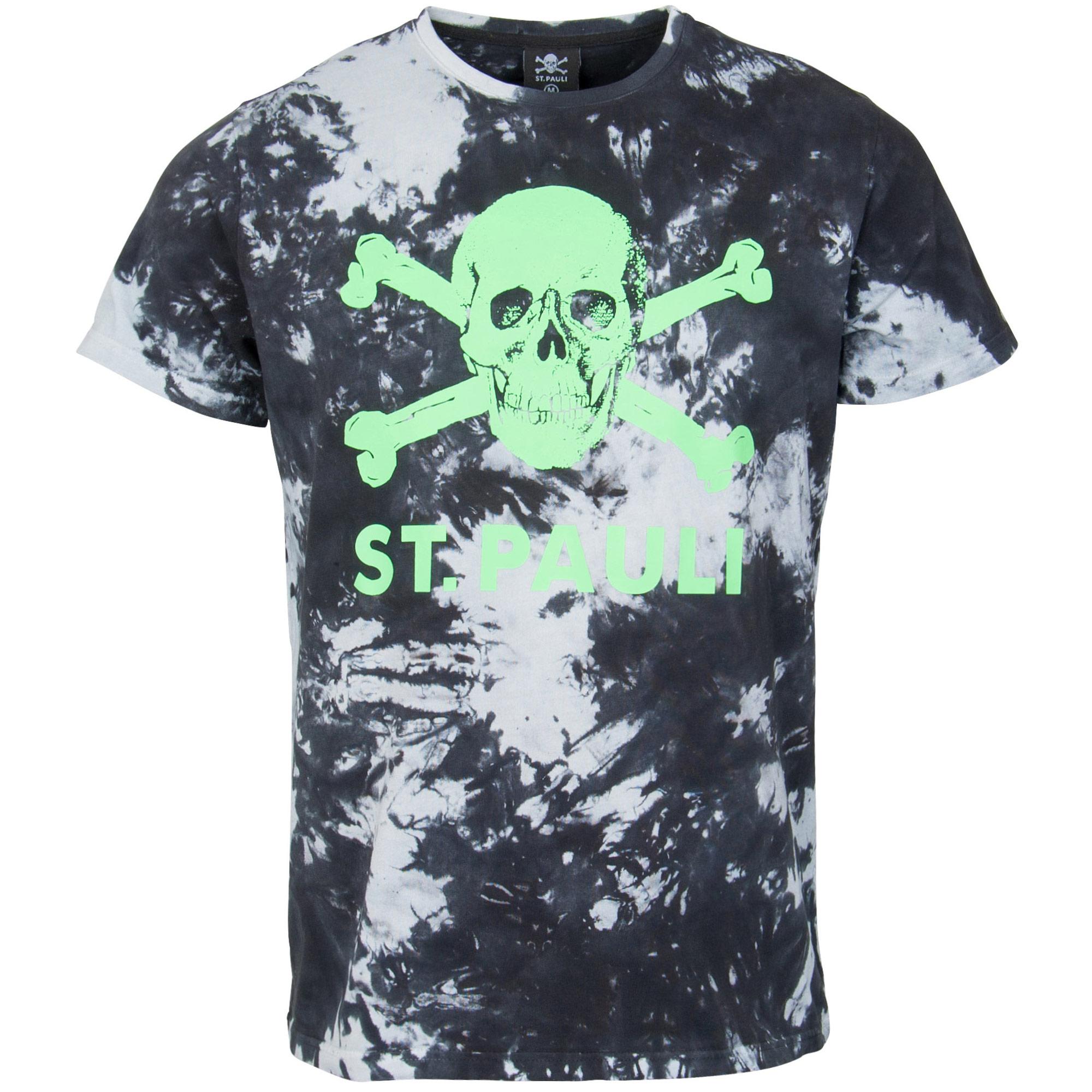 FC St. Pauli - T-Shirt Batik Totenkopf - schwarz-weiß