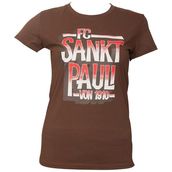 FC St. Pauli - Frauen T-Shirt Block St. Pauli 1910 - braun