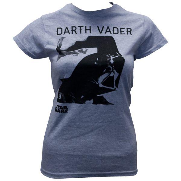 Star Wars - Frauen Shirt Darth Vader Portrait - graumeliert