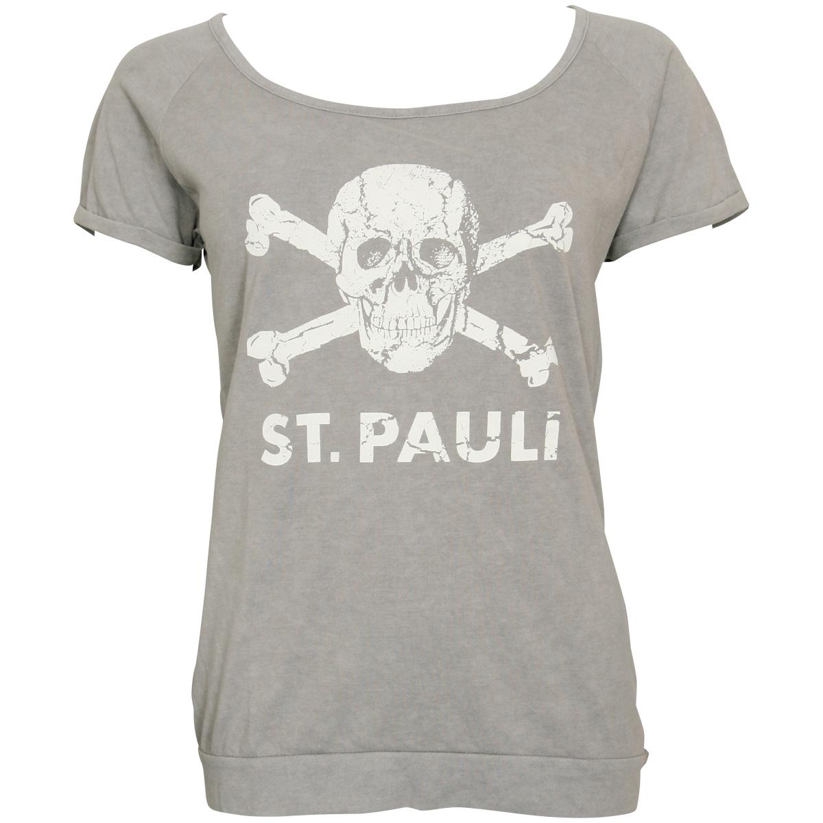 FC St. Pauli - Damen T-Shirt Brushed Grey mit Totenkopf - grau
