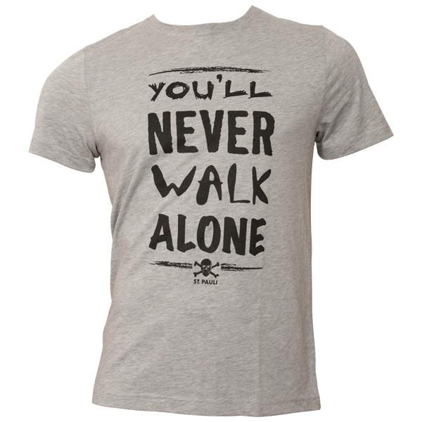 FC St. Pauli - T-Shirt You'll never Walk Alone - Grau-Schwarz