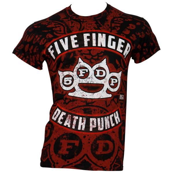 Five Finger Death Punch - T-Shirt Eagle Burst Allover Print - schwarz