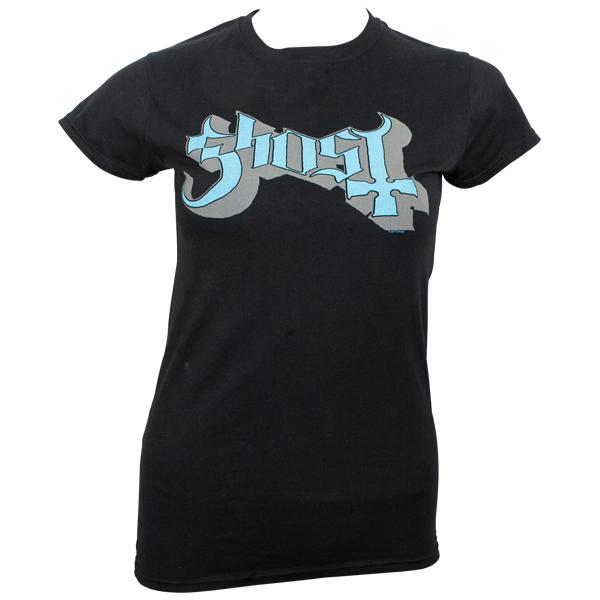 Ghost - Girly T-Shirt Blue/Grey Keyline Logo - schwarz