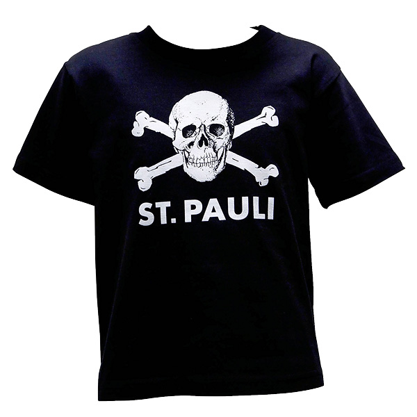 FC St. Pauli - Kinder T-Shirt Totenkopf groß - schwarz
