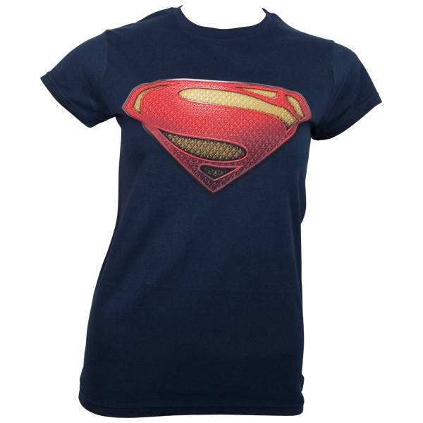 Superman - Girlie T-Shirt Man of Steel textured Logo - blau