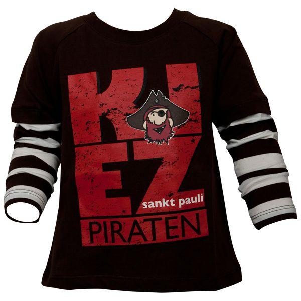 FC St. Pauli - Kinder Langarm Shirt Kiez - braun/weiß