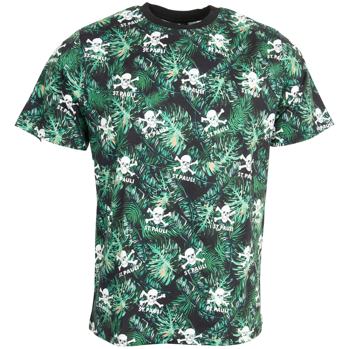 FC St. Pauli - T-Shirt Totenkopf Palme - schwarz-grün