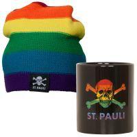 FC St. Pauli - Regenbogen Set mit Kaffeebecher und Mütze  - bunt
