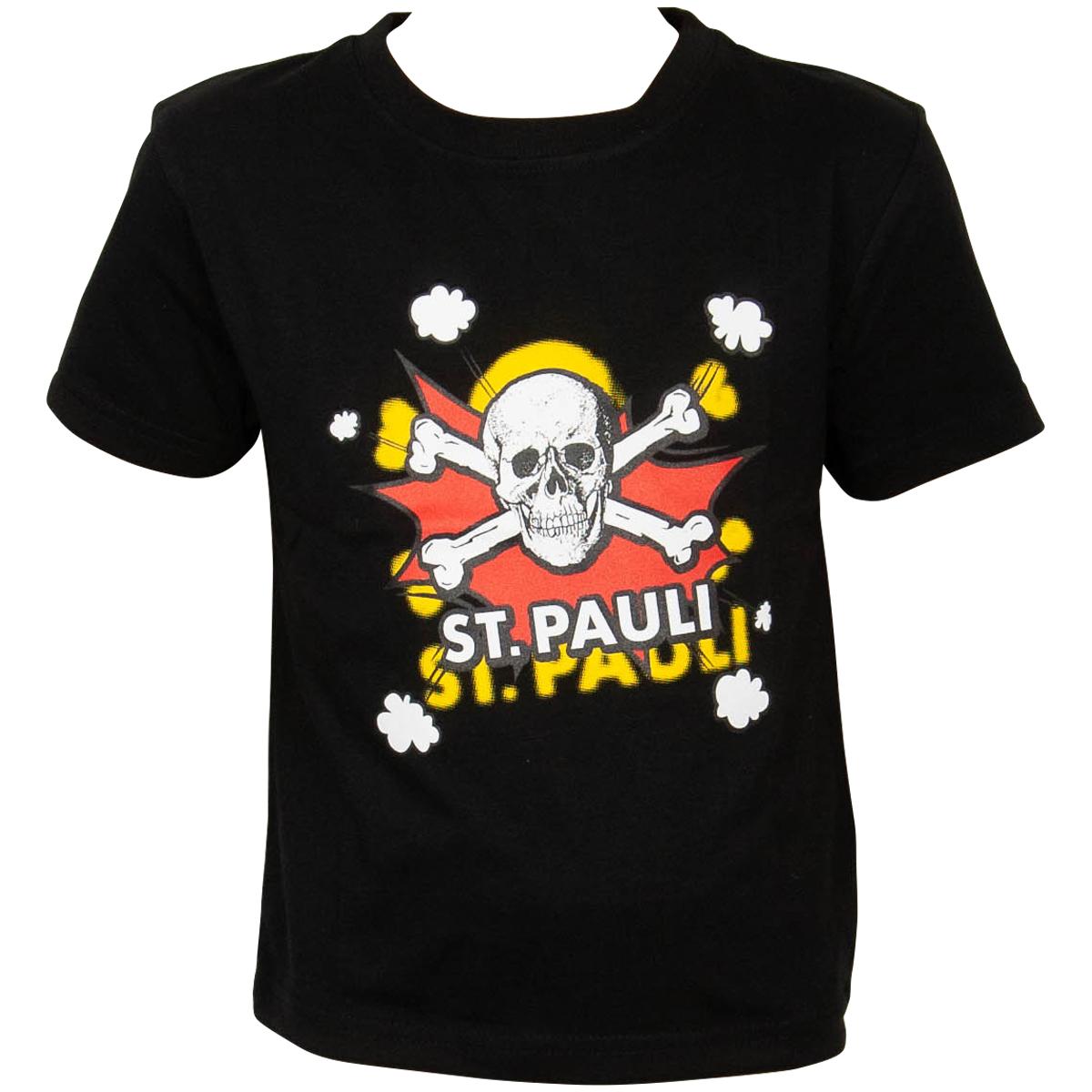 FC St. Pauli - Kinder T-Shirt Totenkopf Pow Schwarz-Rot - schwarz