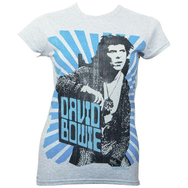 David Bowie - Girlie T-Shirt Blue Beams - grau
