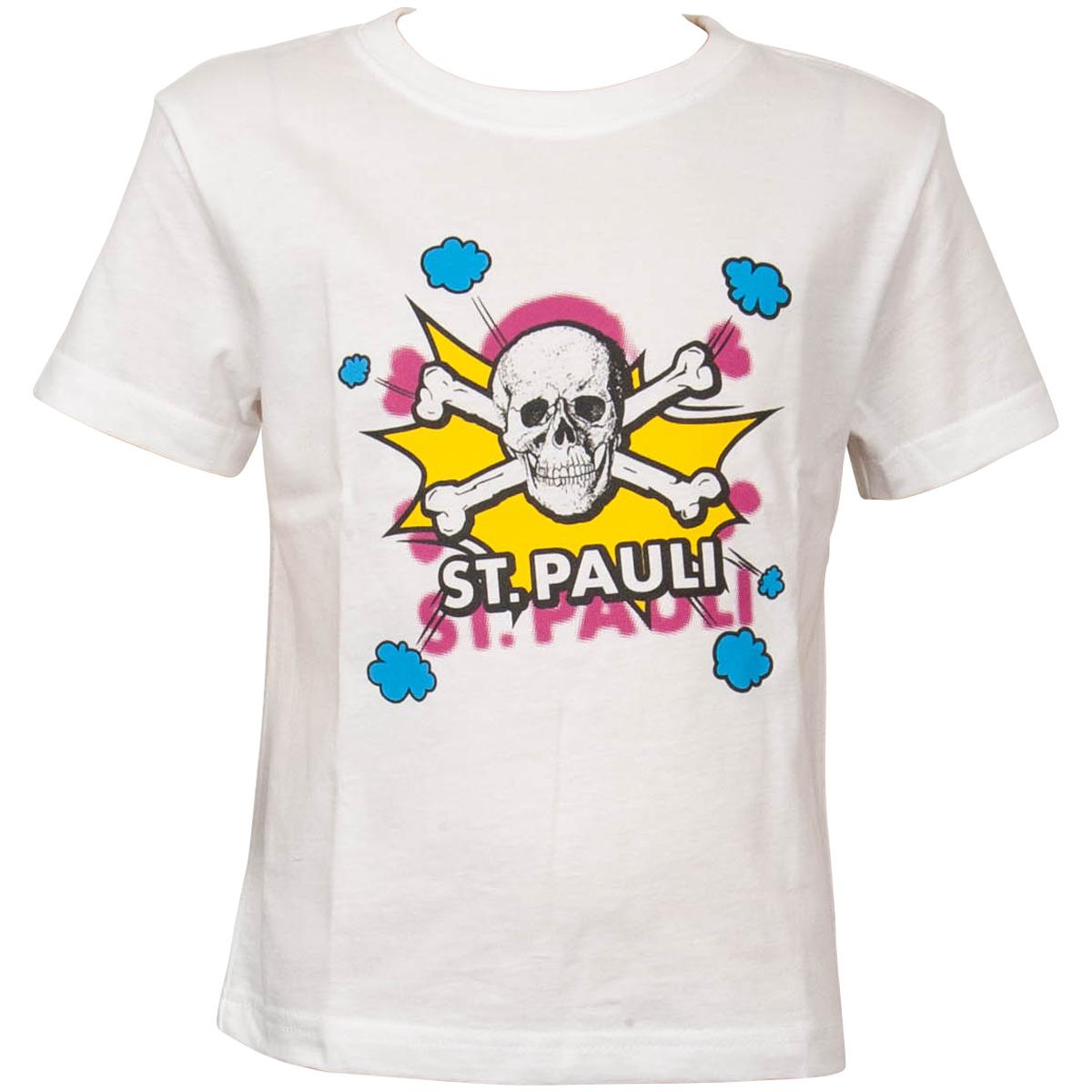 FC St. Pauli - Kinder T-Shirt Totenkopf Pow Weiss-Gelb - weiß