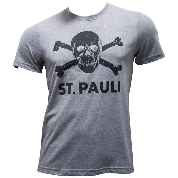 FC St. Pauli - T-Shirt Totenkopf - grau melange