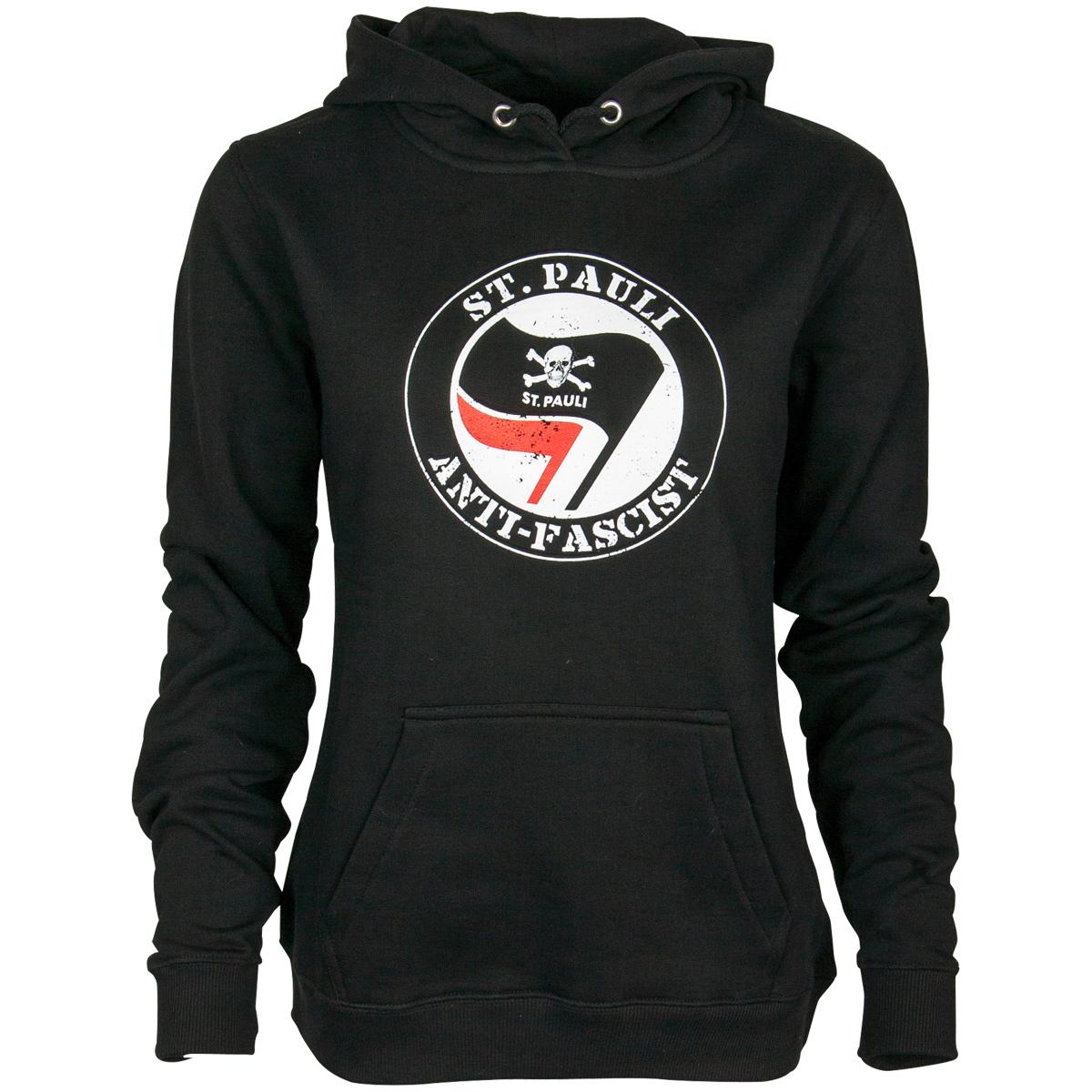 FC St. Pauli - Damen Kapuzenpullover Anti Fascist - schwarz