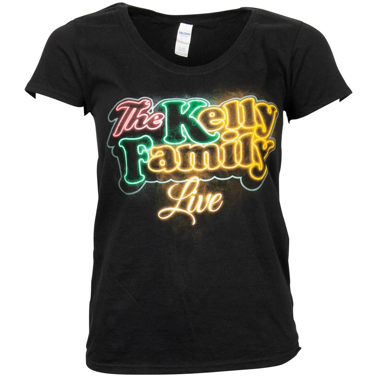 The Kelly Family - Damen T-Shirt Neon Logo - schwarz