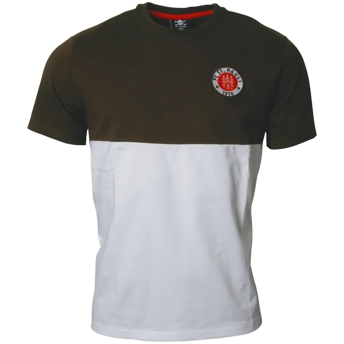 6e14e515477b0 FC St. Pauli - weiß/braunes T-Shirt mit Logo Design | ROCKnSHOP