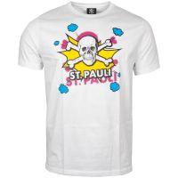 FC St. Pauli - T-Shirt Totenkopf Pow Weiß-Gelb - Weiß