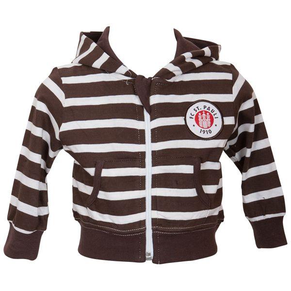 FC St. Pauli - Baby Kapuzenjacke Stripes - weiß/braun