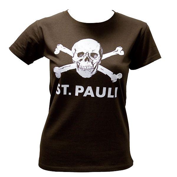 fc st pauli girly t shirt skull big brown rocknshop. Black Bedroom Furniture Sets. Home Design Ideas