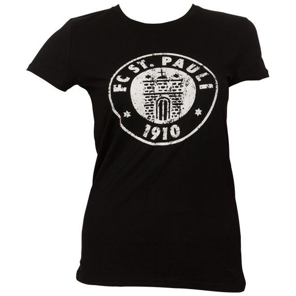 FC St. Pauli - Frauen T-Shirt Logo Schwarz-Weiß